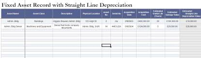 Fixed Asset Register Excel Template Fixed Asset Depreciation Excel Spreadsheet Template124