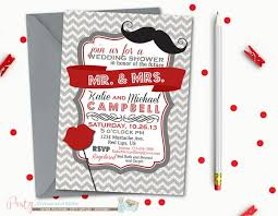Couples Shower Lips And Mustache Wedding Shower Invitation Couples Shower