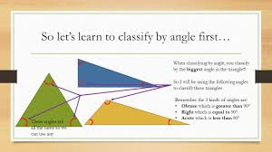 classifying triangles otherwise known as making triangles feel
