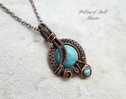 small turquoise pendant necklace images Small turquoise magnesite copper woven wire wrapped pendant jpg