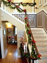 How To Decorate Banister With Garland Banister Christmas Garland 2 With Red Ribbons Founterior