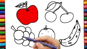 apple cherry grapes orange and banana coloring pages fruits and