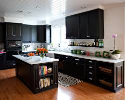 black and white appliance reno kithens with mediun cabnets and dark floors this is a great way