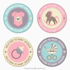 Baby Shower Pastel - beautiful baby shower badges in pastel colors vector free download