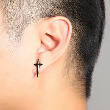 ear stud men 1pc titanium steel rock cross earrings trendy ear stud for