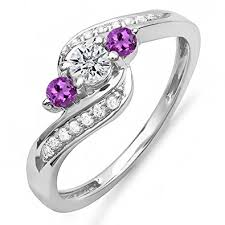 amethyst stone rings images Dazzlingrock collection 14k gold round amethyst white diamond jpg