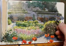 colorful flower gardens painting a flower garden in watercolor youtube