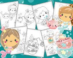 tea coloring book etsy