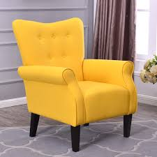 upholstered club chair button back armchair accent high back living room bedroom
