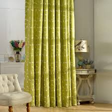 leaf pattern cotton country green window curtains