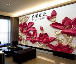 popular red wall mural buy cheap red wall mural lots from china 3d room photo wallpaper custom mural non woven red flowers in full bloom painting 3d