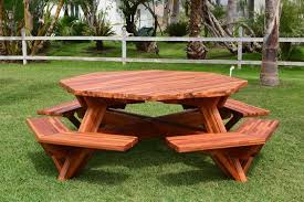 Diy Small Round Wood Park Picnic Table With Detached Octagon Bench by Furniture Hexagon Table Picnic Table Plans With Separate Benches