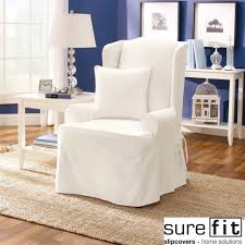 Covers For Recliners Chairs White Sure Fit Twill Supreme Wing For Recliner Slipcovers