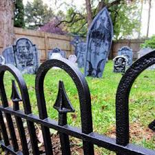turn your yard into a halloween cemetery