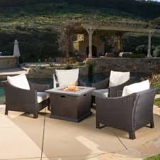 patio furniture with fire pit table fire pit table sets you ll love wayfair