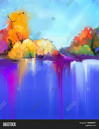 abstract oil painting landscape background colorful blue and purple sky oil painting outdoor landscapes