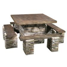 rock picnic table with 4 benches at mills fleet farm