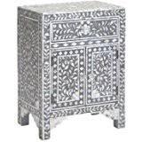 amazon com floral bone inlay nightstand blue kitchen u0026 dining