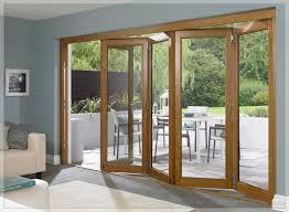 Patio Bi Folding Doors Decor Wooden Frame With Clear Glass Bifold Lacantina Doors For