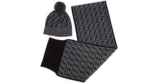 fendi hat with pom pom and scarf set in grey in gray lyst