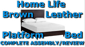 Home Life Brown Leather Platform Bed With Slats Queen Unbox And - Home life furniture