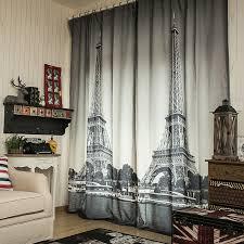 Black Curtains For Bedroom 3d Linen Cheap Curtain Fabrics Eiffel Tower Blinds Blackout
