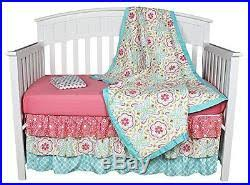 crib bedding for girls coral aqua floral nursery shabby chic baby