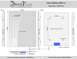 Battery Bathroom Mirror by Gaze Battery Mirror H 700mm X W 500mm X D 45mm Illuminated Mirrors
