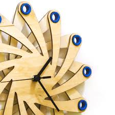 galaxy blue contemporary stylish wall clock made of bent plywood