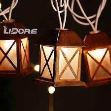 10 mini light string cage white glow bronze metal house shaped lantern 10 light outdoor