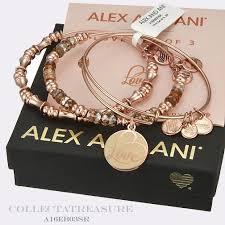 rose gold bracelet set images Authentic alex and ani love set of 3 shiny rose gold bangles jpg