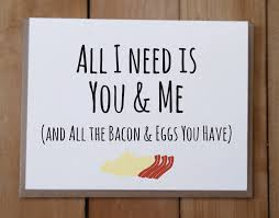 you and me and bacon and eggs valentine u0027s day card