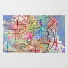 san francisco map painting map painting rugs society6