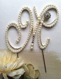 pearl cake topper monogram wedding cake topper w swarovski