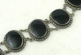 sterling silver black onyx bracelet images Vintage sterling onyx marcasite bracelet garden party jpg