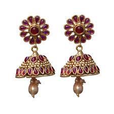 jhumki earring striking maroon colour jhumki earring set jewelry