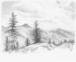 pencil sketches nature cross the bridge mountain stream sketch