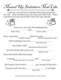 wedding mad libs wedding messed up invitations madlibs