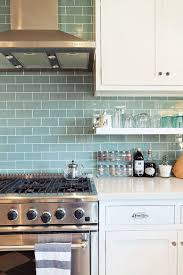 light blue kitchen backsplash this is it white cabinets white counters open shelves chrome