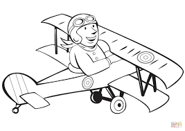 ww1 french pilot on biplane coloring page free printable