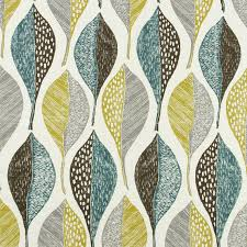 Upholstery Fabric For Curtains Modern Upholstery Fabric With Leaves Aqua Grey Printed Cotton