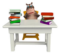 Hippo Chair Hippo Cartoon Character With Book And Table And Chair Stock