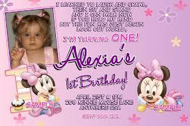 1st Birthday Invitation Card Samples Free Printable Minnie Mouse 1st Birthday Invitations Dolanpedia