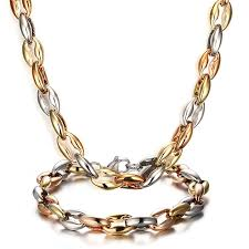wholesale jewelry necklace chains images Wholesale jewelry chain mens necklace bracelet set 18k gold plated jpg