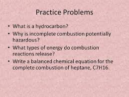complete and incomplete combustion 13 practice