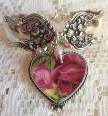 roses china silver spoon broken china charm bracelets roses and teacups