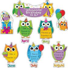 birthday board colorful owls birthday bulletin board set
