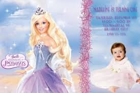 barbie pegasus birthday invitation