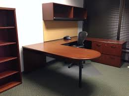 Desk U Shaped Furniture Glossy Wooden U Shaped Desk With Black Chair And Wall