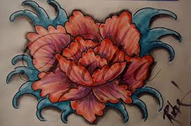 flower tattoo flash painting by twofacedtattoo on deviantart